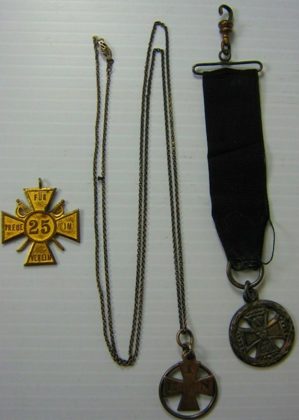 WWI GERMAN IRON CROSS WATCH FOB JEWELRY 3 ITEMS