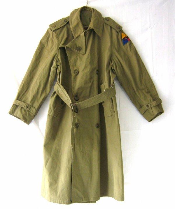 WWII ORIGINAL US OFFICER MAJOR TRENCH COAT
