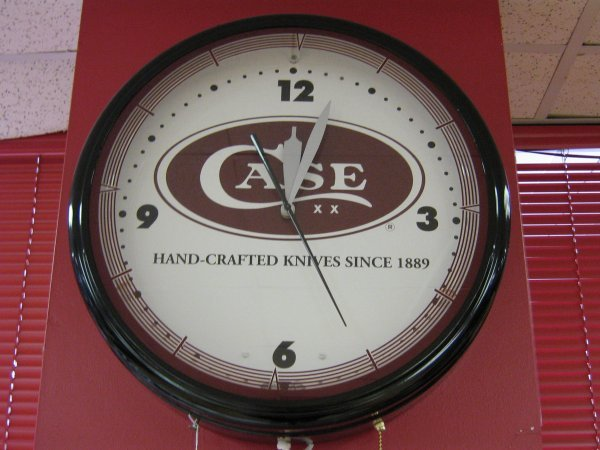 CASE XX POCKET KNIFE NEON CLOCK SIGN WORKING