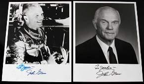 2 JOHN GLENN NASA ASTRONAUT AUTOGRAPH LOT