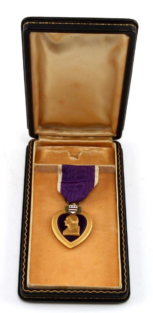 US MILITARY  NAMED PURPLE HEART WITH COFFIN CASE