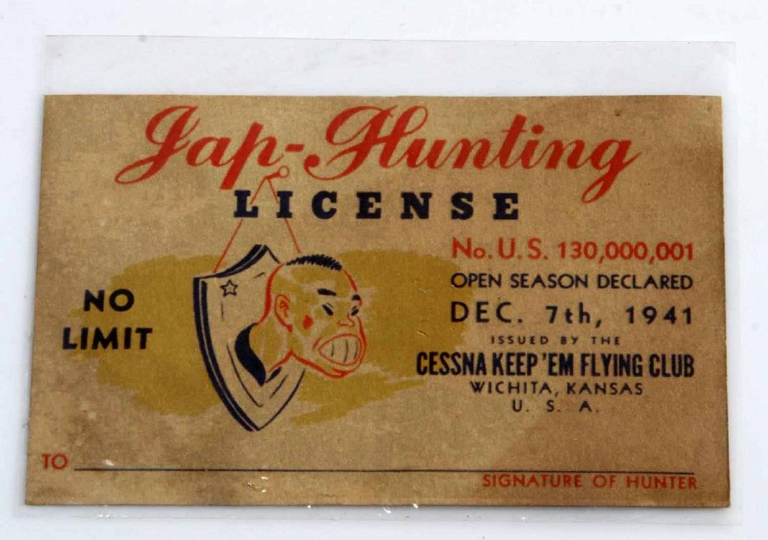 US WWII JAP HUNTING LICENSE CESSNA KEEP