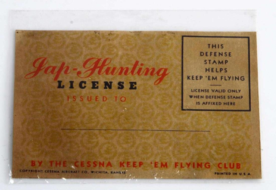 US WWII JAP HUNTING LICENSE CESSNA KEEP - 2