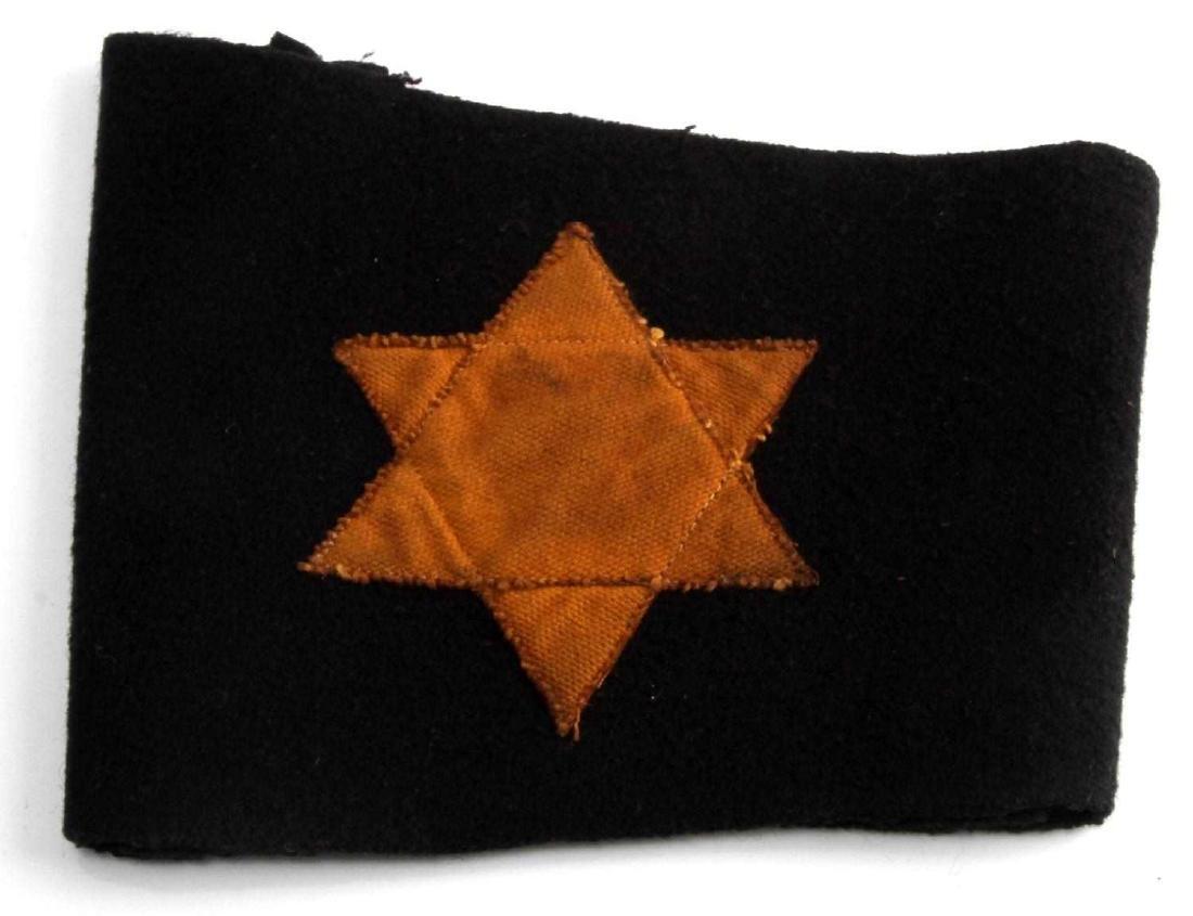 WWII GERMAN 3RD REICH STAR OF DAVID BLACK ARMBAND