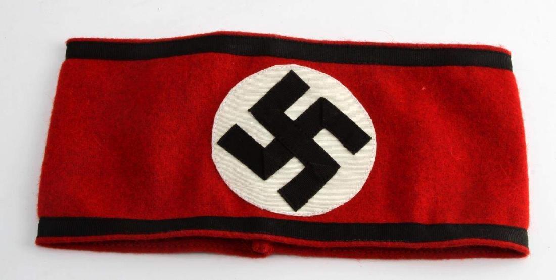 WWII GERMAN 3RD REICH WAFFEN SS BLACK EDGE ARMBAND