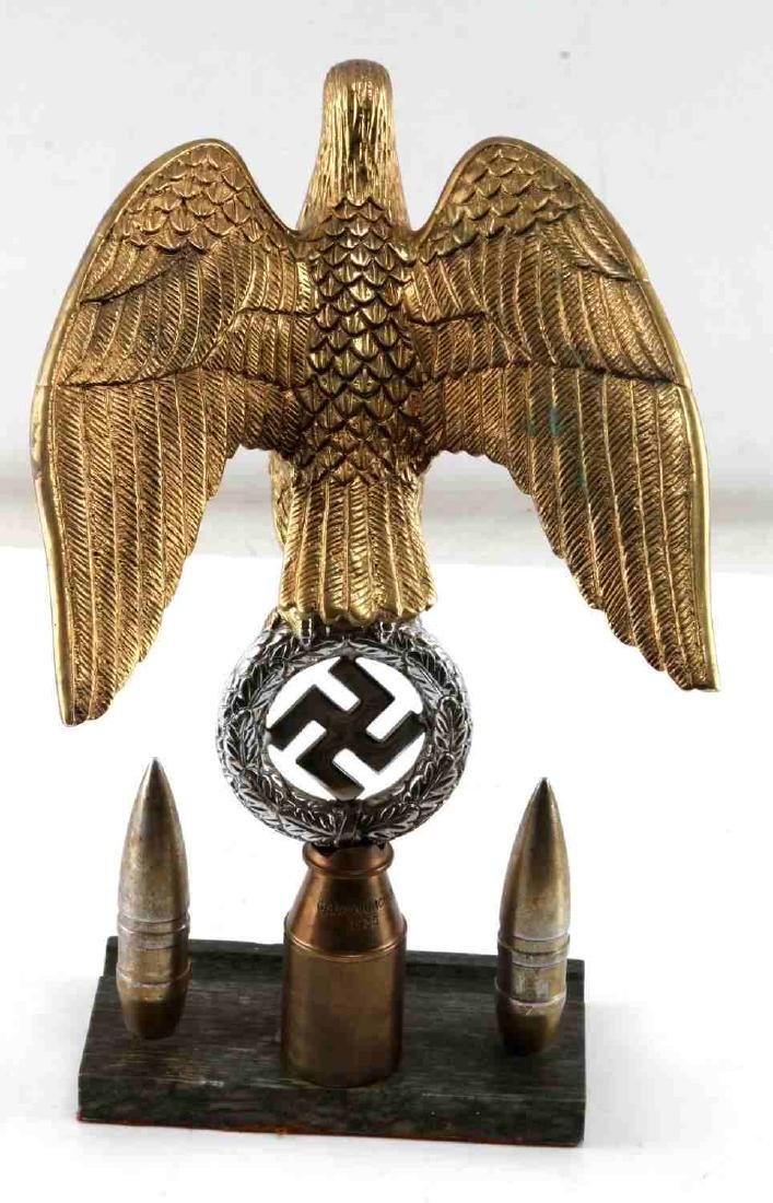 GERMAN WWII NSDAP DEUTSCHLAND FLAG POLE TOP EAGLE - 4