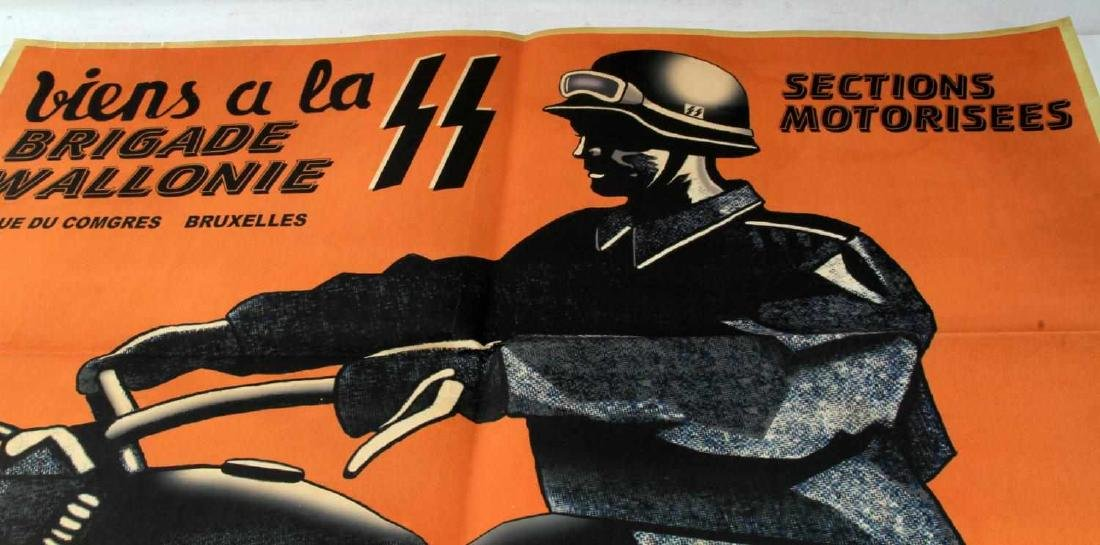 WWII GERMAN THIRD REICH SS WALLONIE RECRUIT POSTER - 2