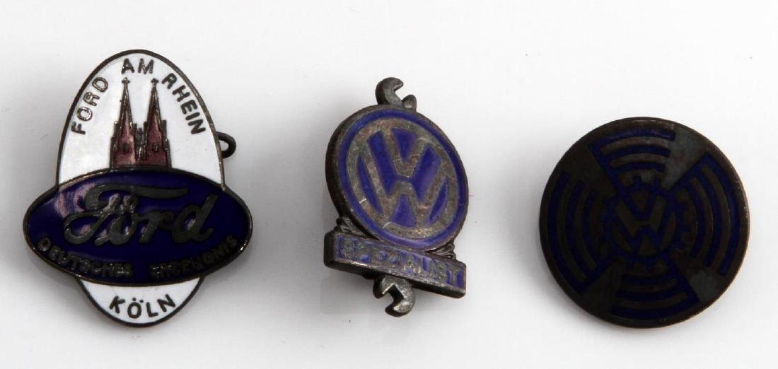 2 GERMAN WWII VOLKSWAGEN BADGES + FORD PLANT BADGE