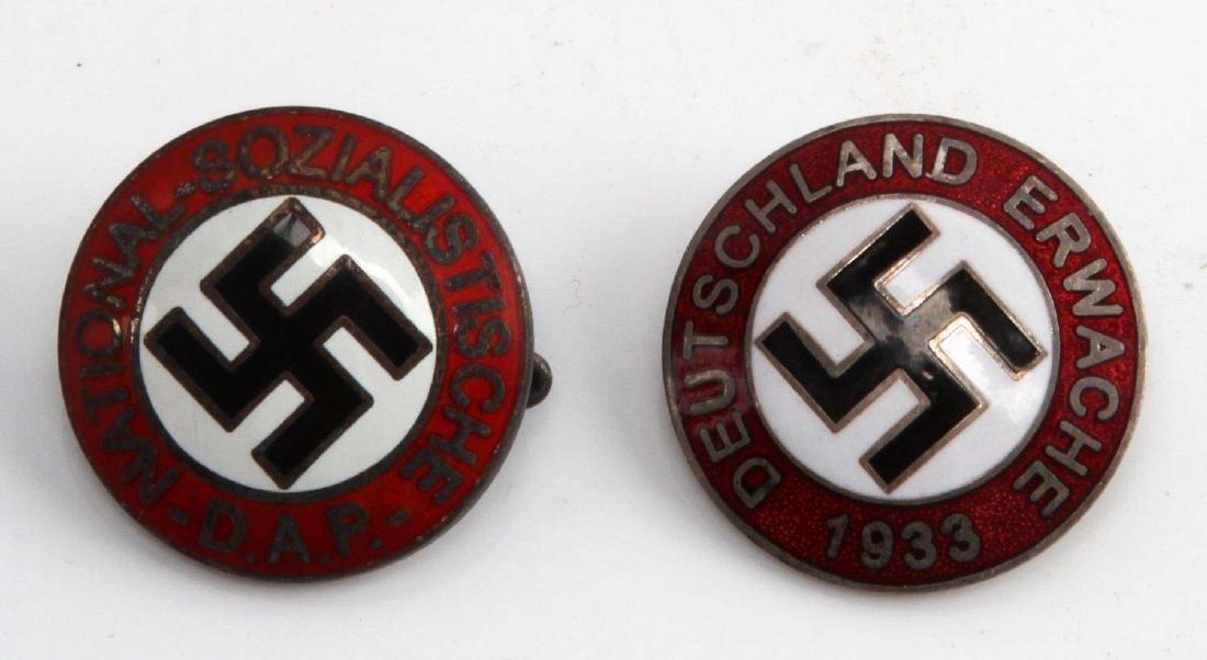 2 GERMAN WWII LAPEL BADGE LOT NSDAP & ERWACHE 1933