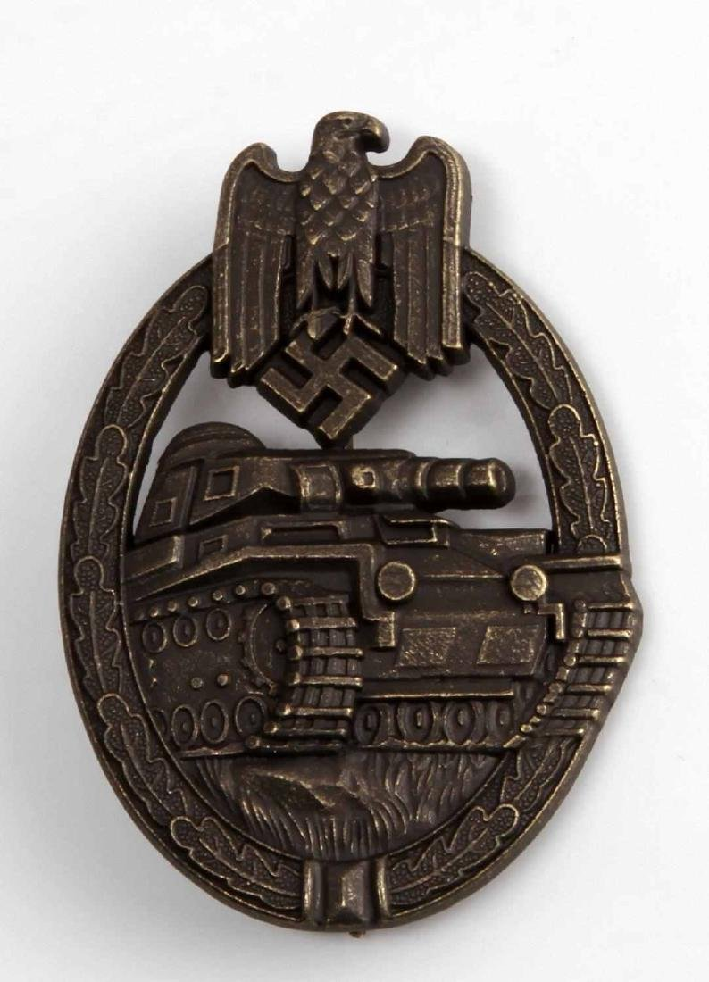 WWII GERMAN 3RD REICH PANZER ASSAULT BADGE BRONZE