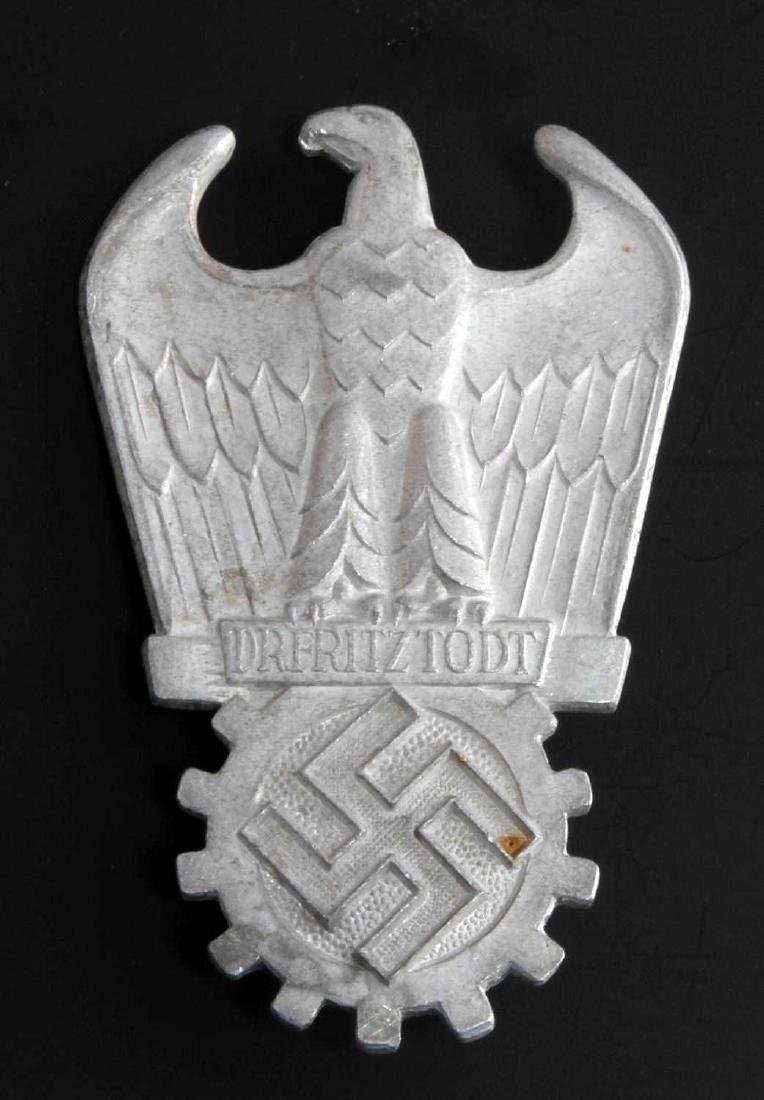 WWII GERMAN THIRD REICH FRITZ TODT BADGE OF HONOR