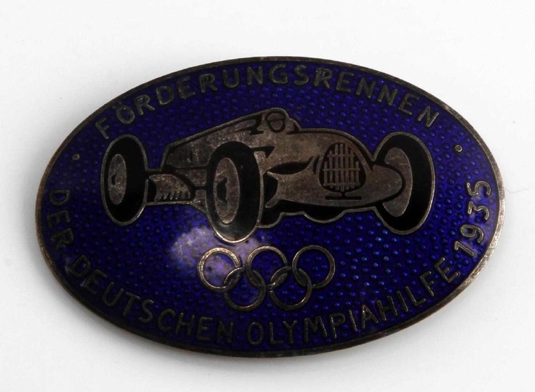 WWII GERMAN 3RD REICH PRE OLYMPICS RACE CAR BADGE