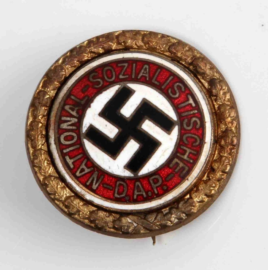 GERMAN WWII THIRD REICH NSDAP GOLD PARTY BADGE