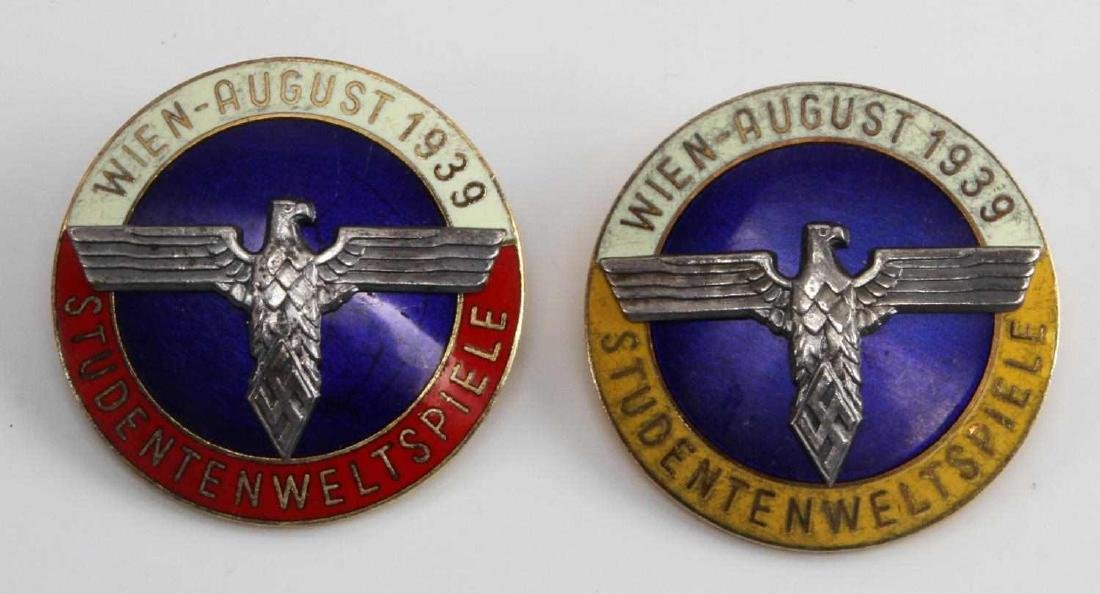 GERMAN WWII 1939 WIEN STUDENTEN WELTSPIELE BADGES