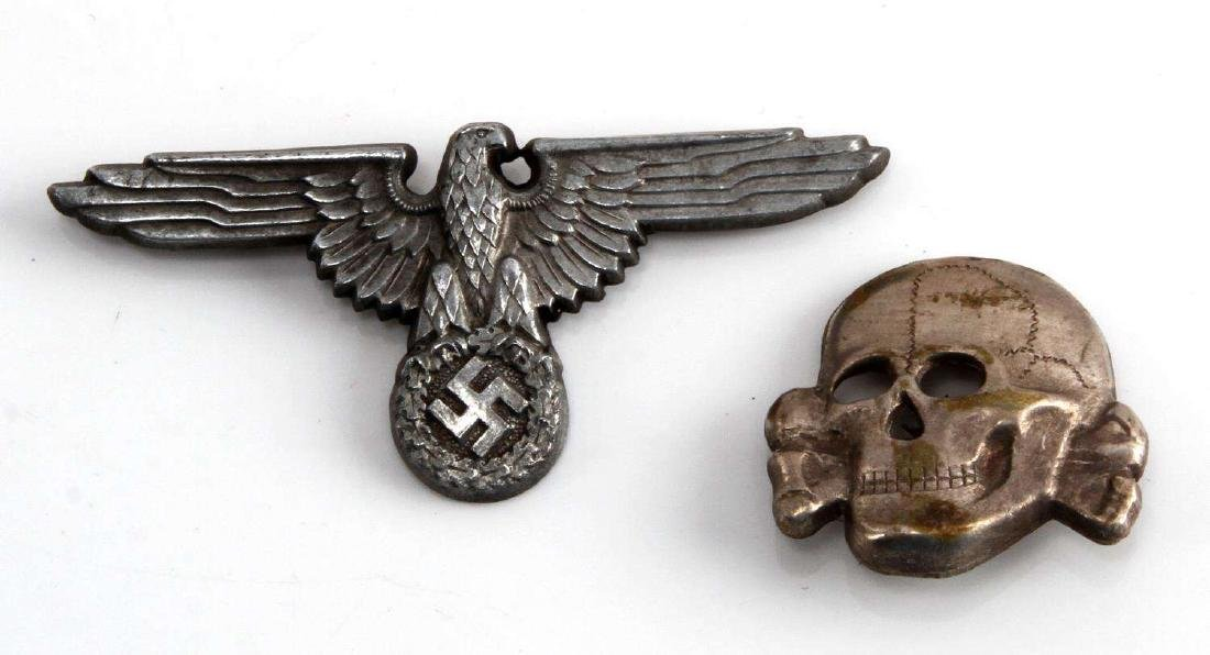 WWII GERMAN THIRD REICH WAFFEN SS HAT INSIGNIA SET