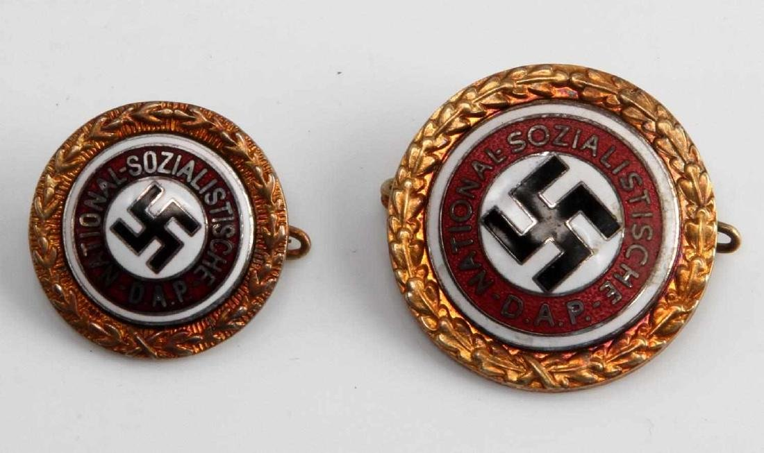 GERMAN WWII THIRD REICH NSDAP GOLDEN PARTY BADGES