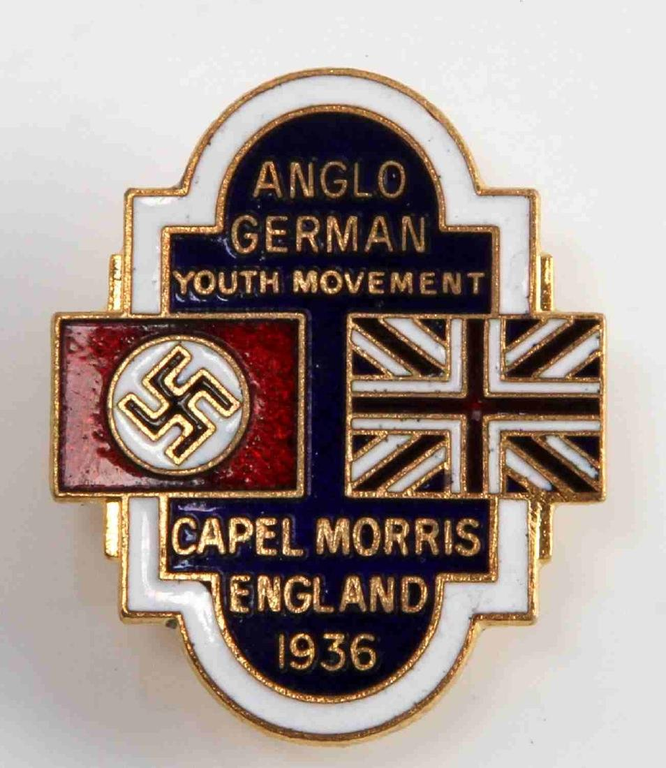 GERMAN WWII 1936 ANGLO GERMAN YOUTH MOVEMENT BADGE