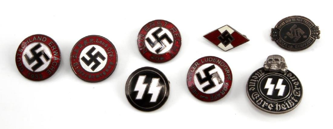 8 GERMAN WWII THIRD REICH ENAMELED PARTY BADGE LOT