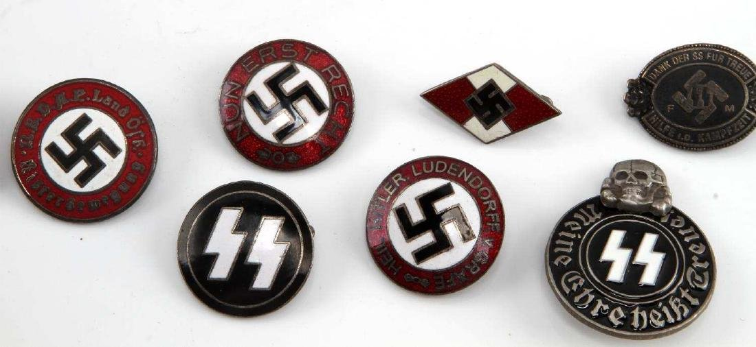 8 GERMAN WWII THIRD REICH ENAMELED PARTY BADGE LOT - 2