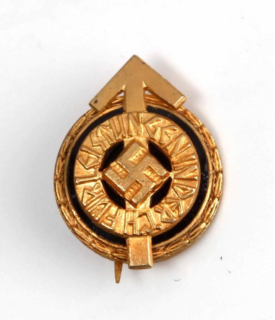 GERMAN WWII MINI HITLER YOUTH GOLDEN LEADER BADGE