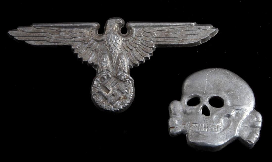 WWII GERMAN THIRD REICH SS VISOR CAP BADGE LOT