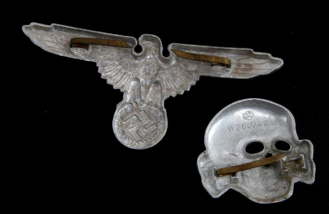 WWII GERMAN THIRD REICH SS VISOR CAP BADGE LOT - 2