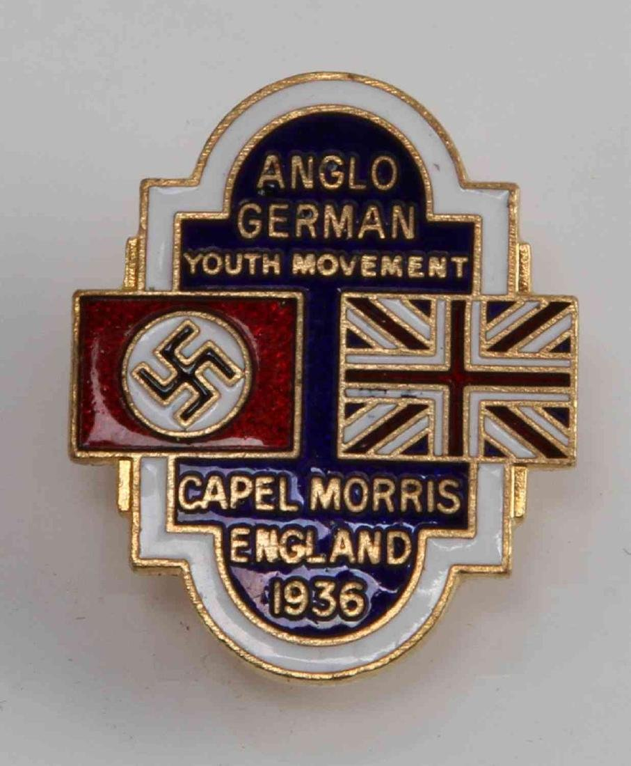GERMAN BRITISH WWII 1936 ANGLO GERMAN YOUTH BADGE