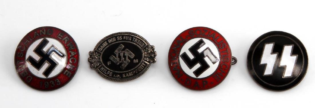 GERMAN WWII THIRD REICH BADGES NSDAP & WAFFEN SS