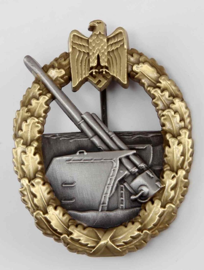 GERMAN WWII KREIGSMARINE COASTAL ARTILLERY BADGE