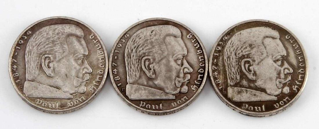 3 GERMAN WWII 1937 CHANCELLOR HINDENBURG COIN LOT