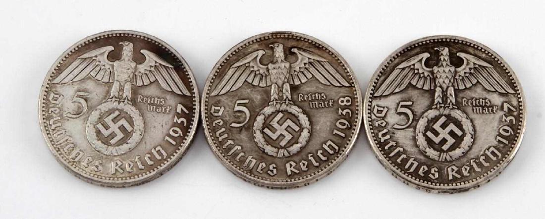 3 GERMAN WWII 1937 CHANCELLOR HINDENBURG COIN LOT - 2