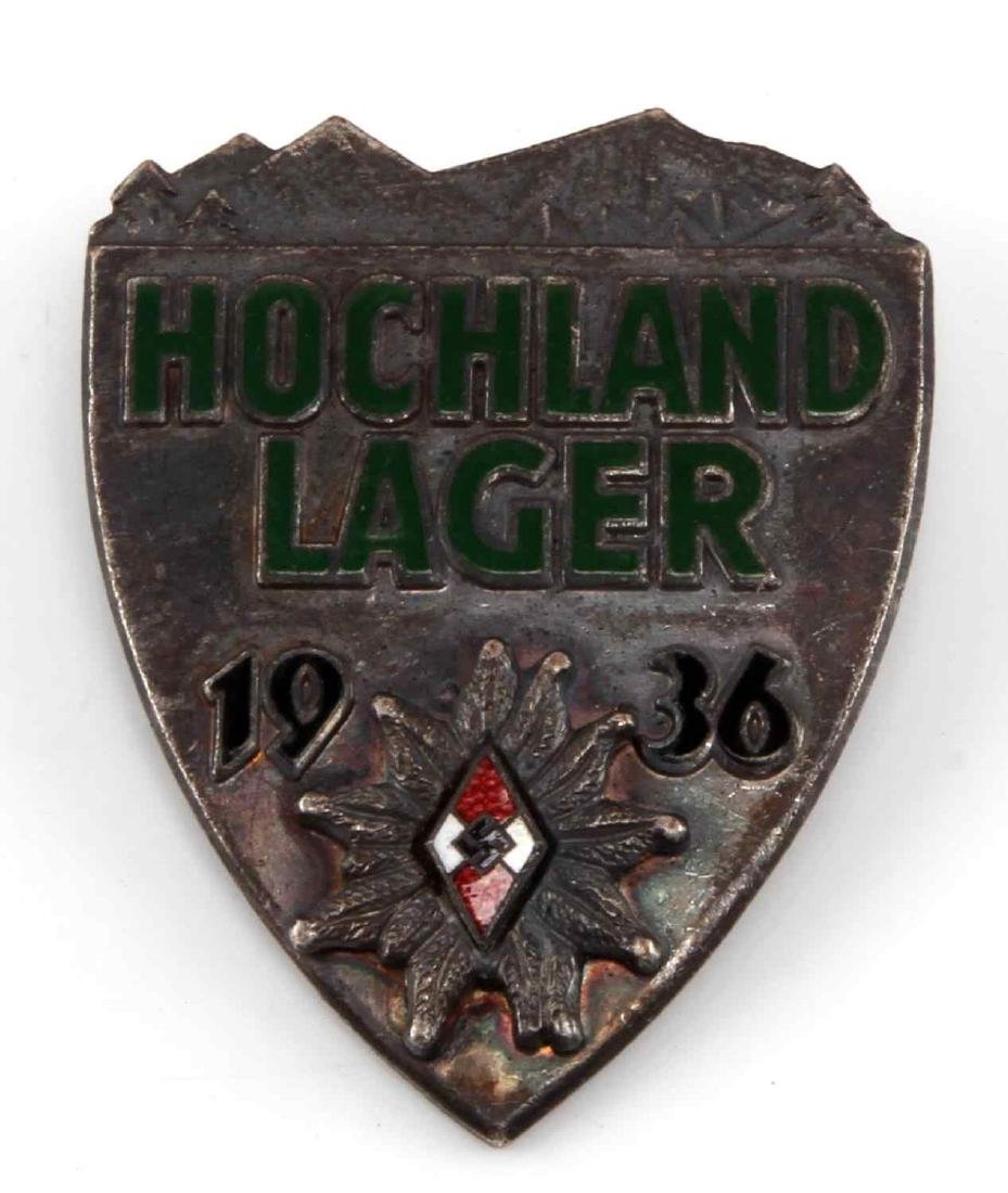 WWII GERMAN 3RD REICH HITLER YOUTH HOCHLAND BADGE