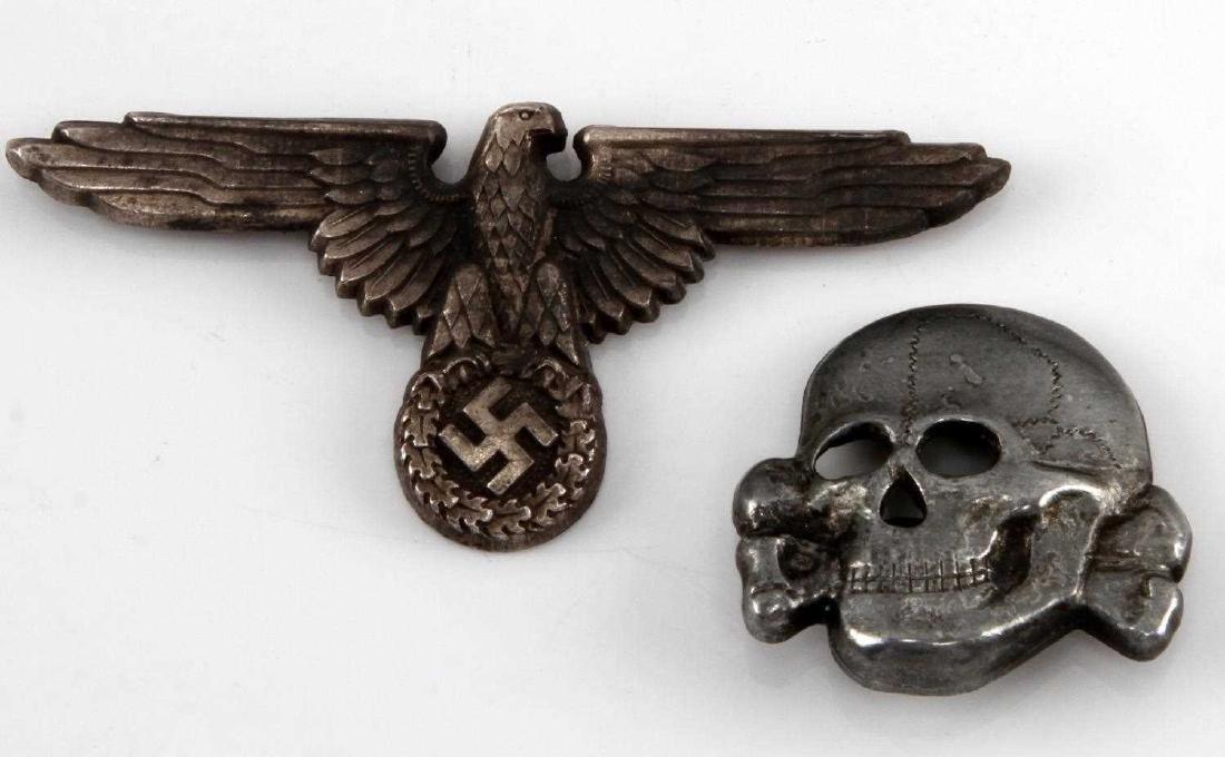 GERMAN WWII WAFFEN SS OFFICERS VISOR EAGLE & SKULL