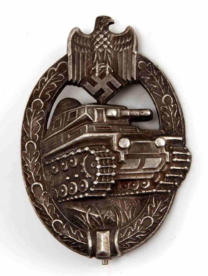 WWII GERMAN THIRD REICH SILVER TANK ASSAULT BADGE