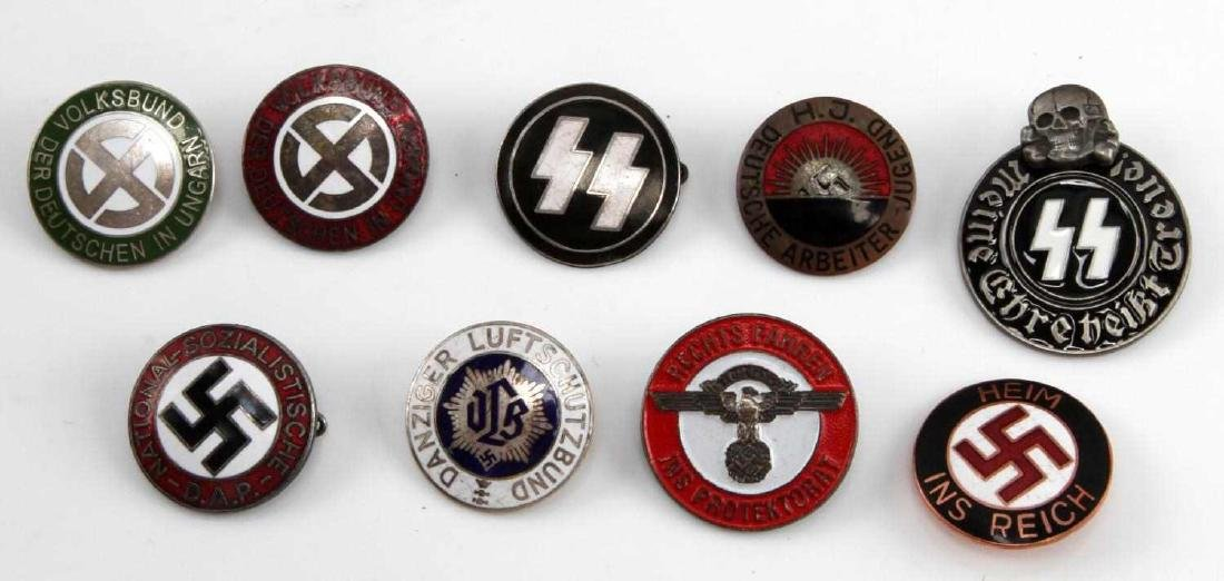 WWII GERMAN THIRD REICH ASSORTED TINNIE LOT OF 9