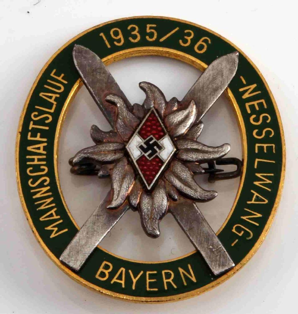 GERMAN WWII 1935 36 HITLER YOUTH ALPINE SKI BADGE