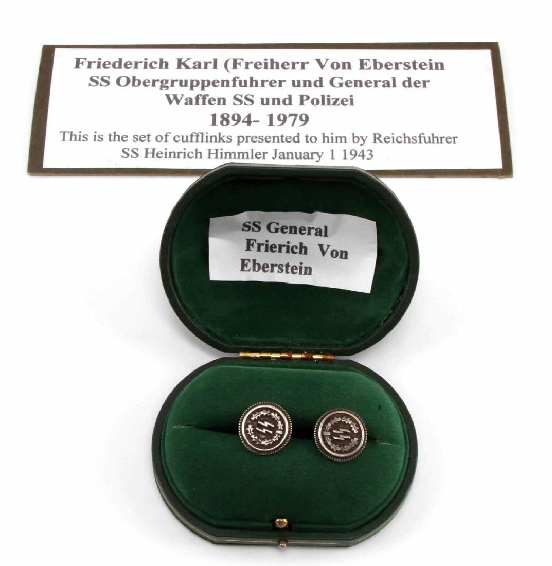CASED GERMAN WWII WAFFEN GEN EBERSTEIN CUFF LINKS