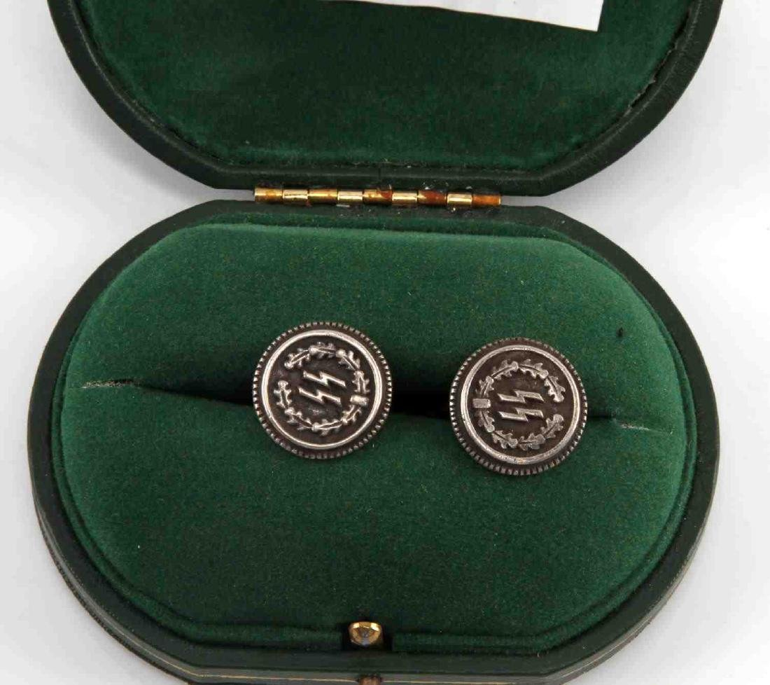 CASED GERMAN WWII WAFFEN GEN EBERSTEIN CUFF LINKS - 2