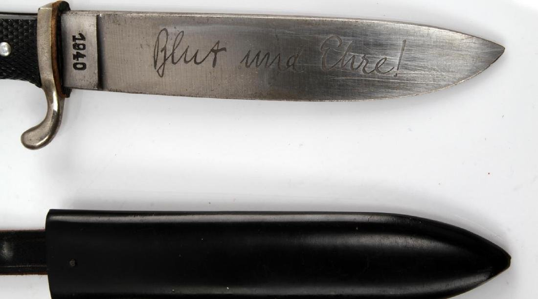 GERMAN WWII HITLER YOUTH HJ KNIFE & SCABBARD - 3