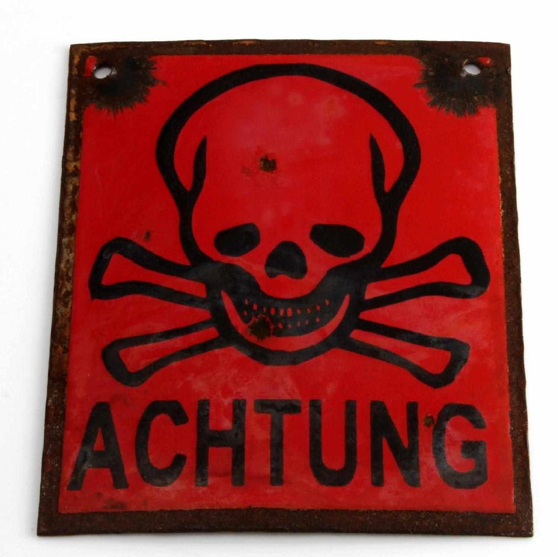 WWII GERMAN 3RD REICH MINE ACHTUNG PORCELAIN SIGN