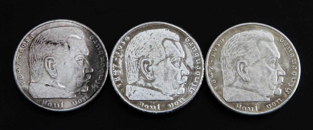 GERMAN THIRD REICH 1937 HINDENBURG 5 MARK COIN LOT