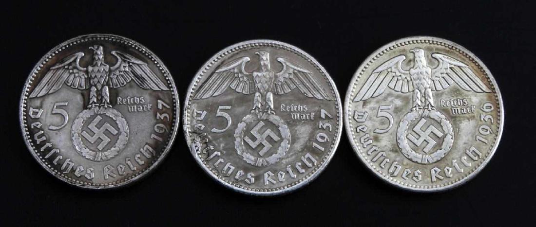 GERMAN THIRD REICH 1937 HINDENBURG 5 MARK COIN LOT - 2