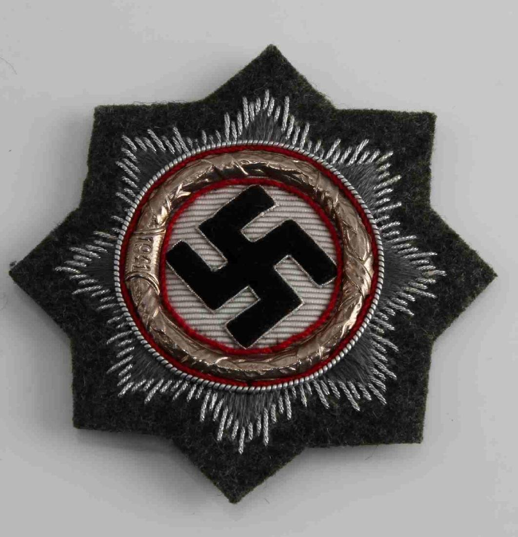 WWII GERMAN 3RD REICH SS CLOTH GERMAN CROSS SILVER