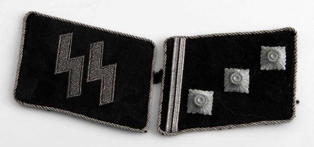 WWII GERMAN THIRD REICH SS OFFICER COLLAR TAB PAIR