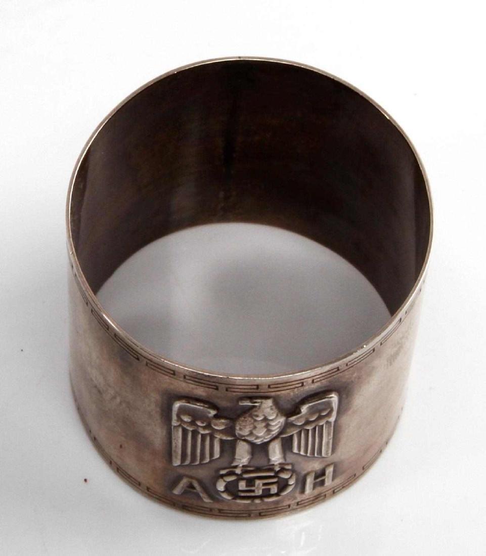 WWII GERMAN ADOLF HITLER SILVER FORMAL NAPKIN RING - 2