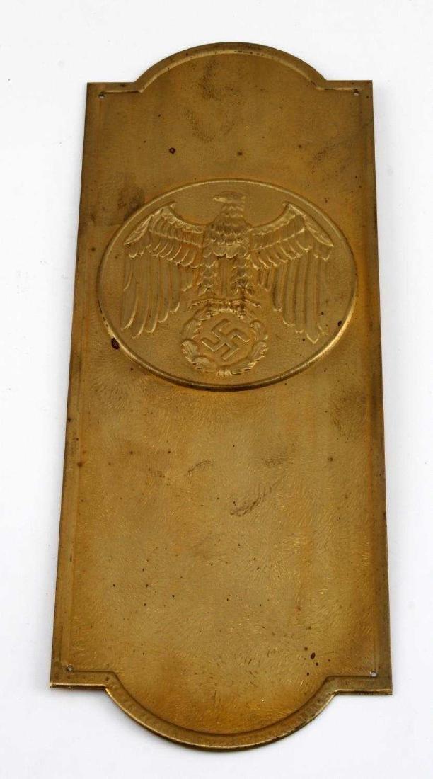 GERMAN WWII POLITICAL LEADER BRASS DOOR PLAQUE