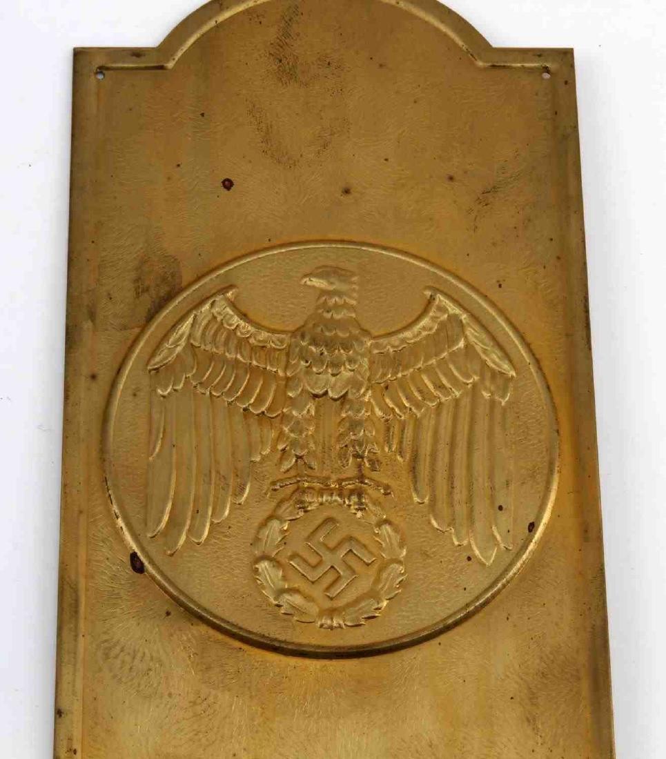 GERMAN WWII POLITICAL LEADER BRASS DOOR PLAQUE - 2