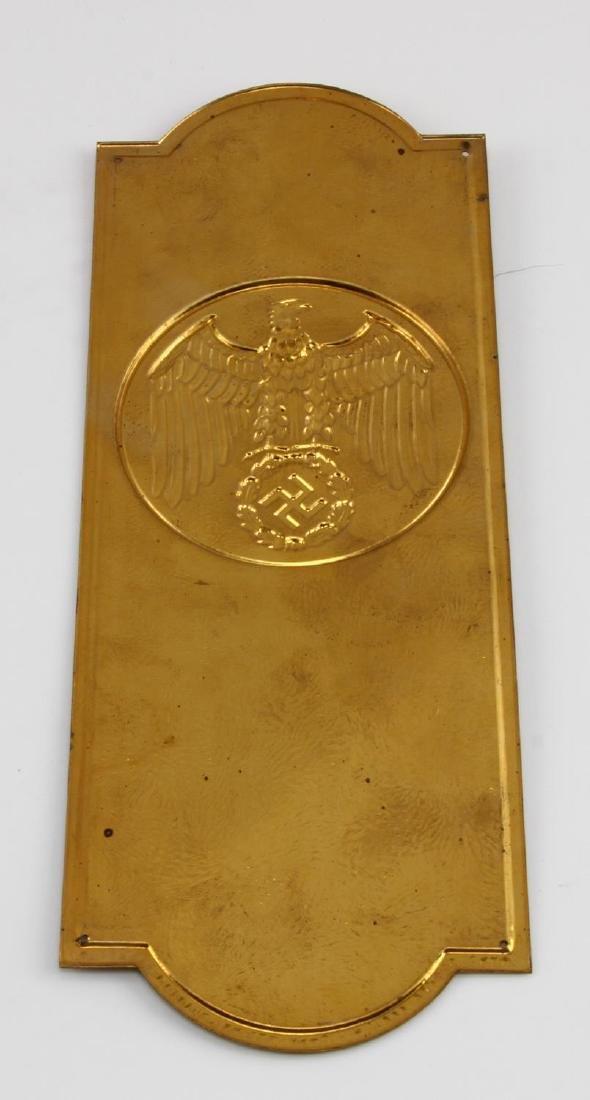 GERMAN WWII POLITICAL LEADER BRASS DOOR PLAQUE - 3
