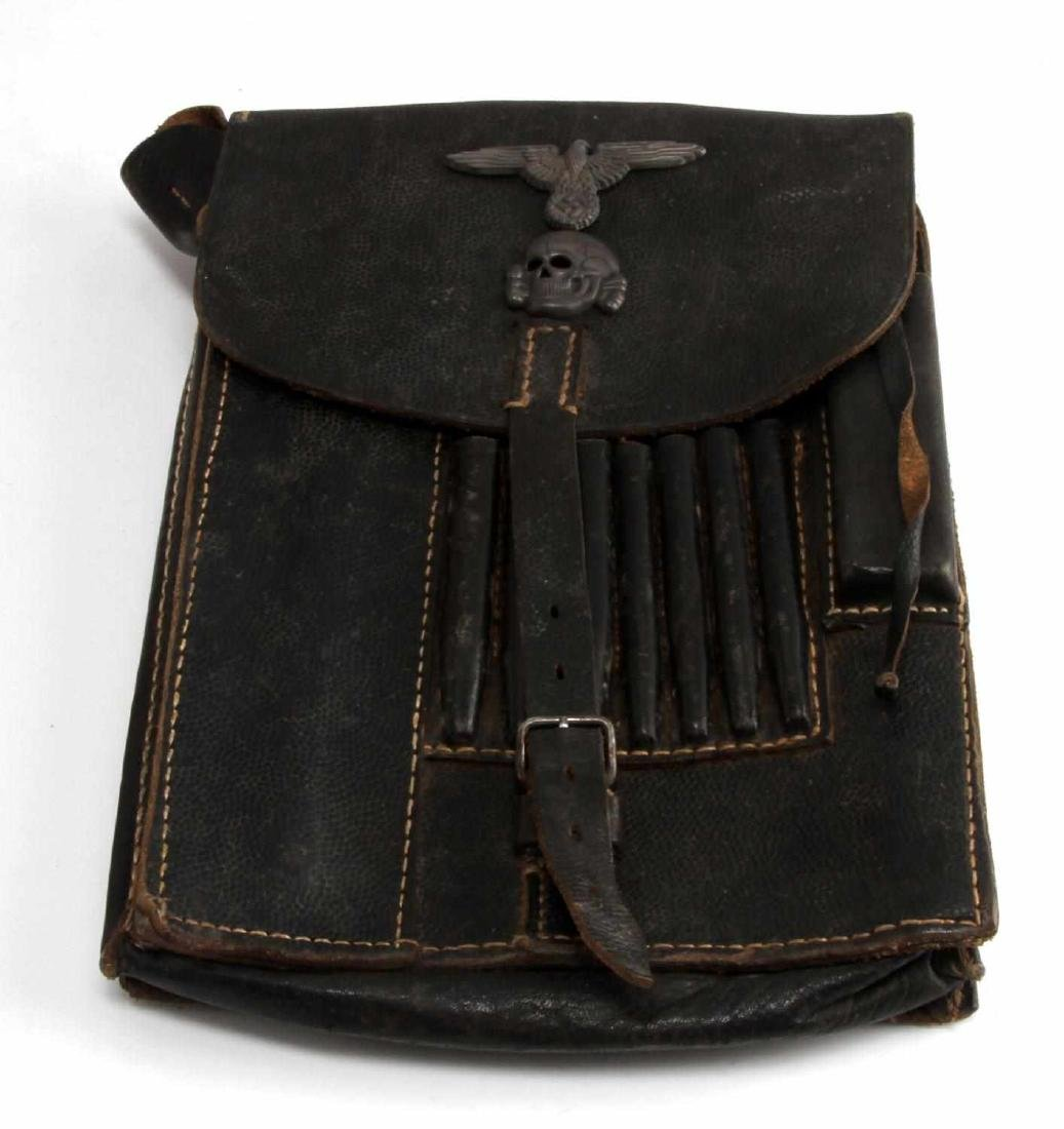 GERMAN WWII WAFFEN SS OFFICERS LEATHER MAP CASE