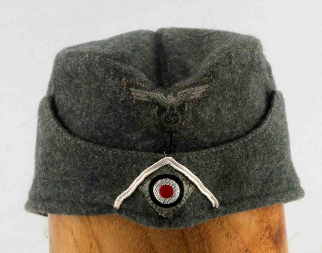 GERMAN WWII ARMY INFANTRY EM OVERSEAS CAP GREEN